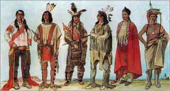 436d49a59e24 фото Молодой индеец из северного племени. Кожаная одежда с украшениями,  меховая шапка.